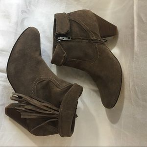 Steve Madden Suede Fringe Ankle Booties Boots